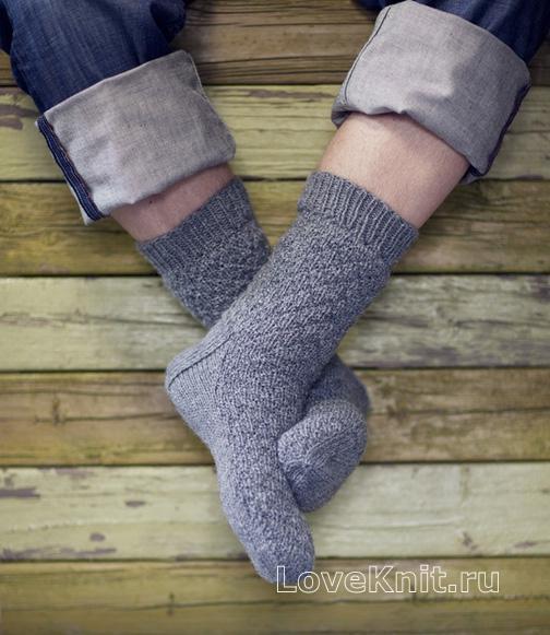 мужские носки с простым узором схема спицами люблю вязать