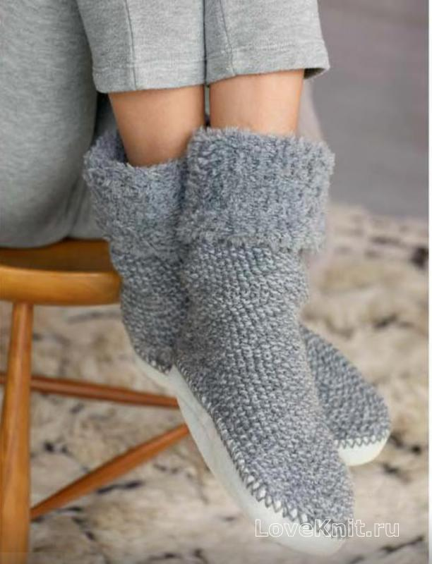 пушистые носки с плотной подошвой схема спицами люблю вязать