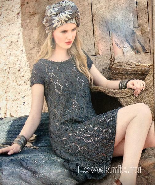ажурное платье с коротки рукавом схема крючком люблю вязать