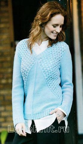 Как связать спицами пуловер с сетчатой вставкой