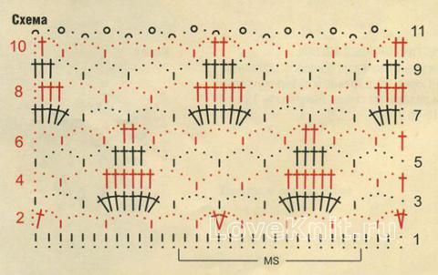 Описание вязания к узор ажурные листочки №1255