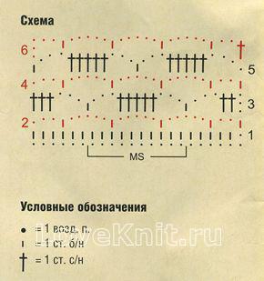 Описание вязания к узор ажурные прямоугольники №1275