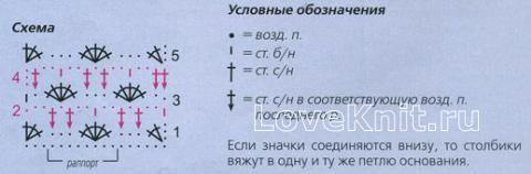 Описание вязания к узор цветочный №1285 крючком