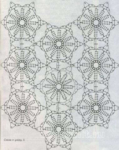 Описание вязания к узор ажурные полотна №1427 крючком