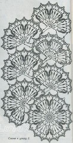 Описание вязания к узор ленточные кружева №1487 крючком