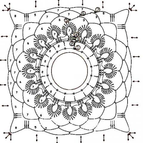 Описание вязания к узор кружево №3822 крючком