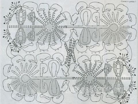Описание вязания к узор ажурные полотна №1429 крючком