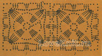Описание вязания к узор №1302 крючком