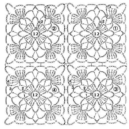 Описание вязания к вязание квадрата №3807 крючком