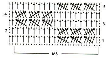 Описание вязания к узор крючком №3927 крючком