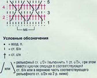 Описание вязания к цветной узор №4139 крючком