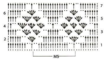 Описание вязания к рельефный узор №3930 крючком