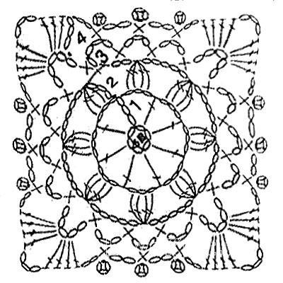 Описание вязания к вязание квадрата №3811 крючком