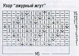Описание вязания к узор ажурный жгут №1216 спицами