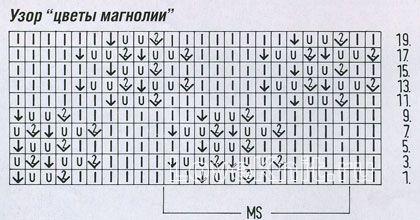 Описание вязания к узор цветы магнолии №1227  спицами