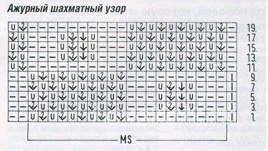 Описание вязания к узор шахматный №1230  спицами