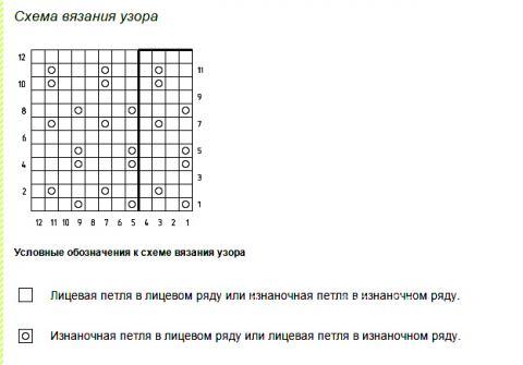 Описание вязания к простой узор №1942 спицами