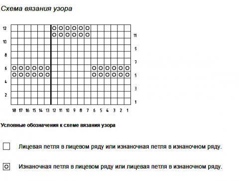 Описание вязания к узор простой №1946 спицами