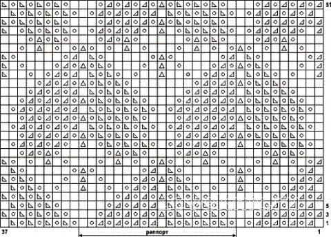 Описание вязания к узор ажурные ромбы №2044 спицами