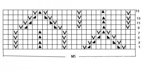 Описание вязания к узоры из ажурных полос №3621 спицами