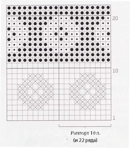 Описание вязания к цветной узор в технике интарсия №4257 спицами