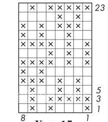 Описание вязания к узор двухцветный интарсия №5052 спицами