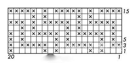 Описание вязания к узор интарсия №5055 спицами