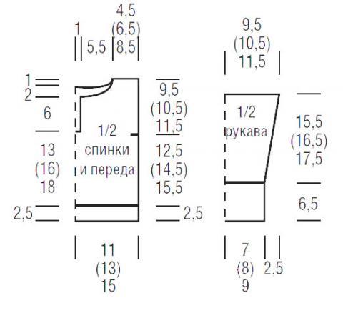 Схема вязания детская кофта с контрастными планками раздел для детей детские кофты, жакеты и тд