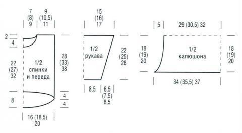 Схема вязания детский цветной джемпер с капюшоном раздел для детей детские кофты, жакеты и тд