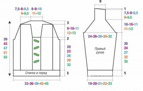 Схема вязания детский джемпер с шалевым воротником и косами  раздел для детей детские кофты, жакеты и тд