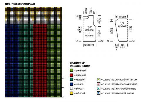 Схема вязания джемпер с карандашами для мальчика раздел для детей детские кофты, жакеты и тд