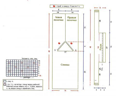 Схема вязания голубая кофточка детская на завязках раздел для детей детские кофты, жакеты и тд