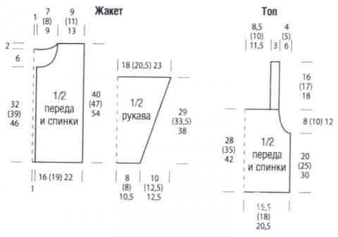 Схема вязания кофта, топ и шапочка для ребенка раздел для детей детские кофты, жакеты и тд