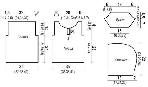Схема вязания полосатый джемпер для мальчика с капюшоном раздел для детей детские кофты, жакеты и тд