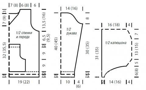 Схема вязания пушистая кофта для ребенка с капюшоном раздел для детей детские кофты, жакеты и тд