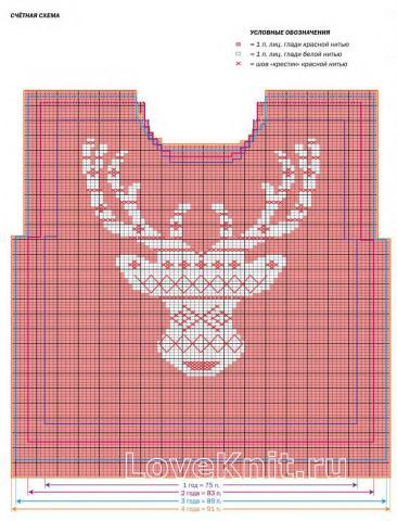 Схема вязания свитер с оленем для ребенка раздел для детей детские кофты, жакеты и тд