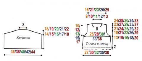 Схема вязания вышитая безрукавка с капюшоном для малыша раздел для детей детские кофты, жакеты и тд