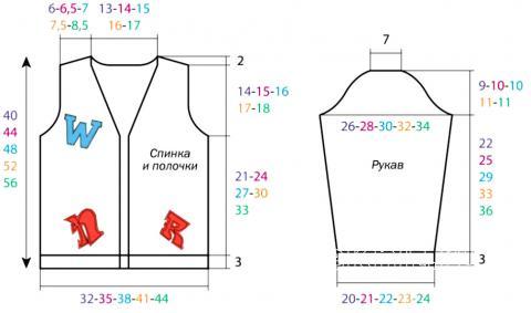 Схема вязания жакет для мальчика с v-образным вырезом раздел для детей детские кофты, жакеты и тд