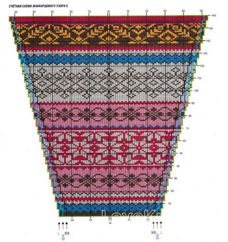 Схема вязания мужской джемпер с контрастным жаккардовым узором раздел для мужчин мужские кофты спицами