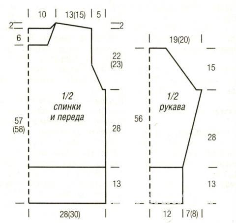 Схема вязания мужской пуловер с широкой планкой на талии раздел для мужчин мужские кофты спицами