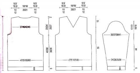 Схема вязания мужской пуловер с v-образным вырезом раздел для мужчин мужские кофты спицами