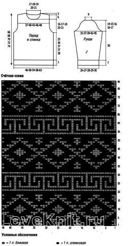 Схема вязания мужской свитер с жаккардовым узором раздел для мужчин мужские кофты спицами