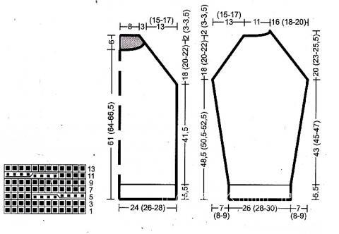 Схема вязания объемный джемпер с косами для подростка раздел для мужчин мужские кофты спицами