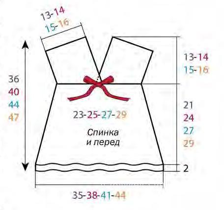 Схема вязания цветная туника для малышки раздел для детей детские платья, сарафаны