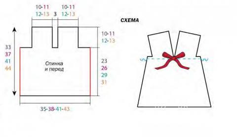Схема вязания детский сарафан с бантом раздел для детей детские платья, сарафаны