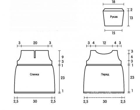 Схема вязания платье с синей полоской для девочки до 12 месяцев раздел для детей детские платья, сарафаны