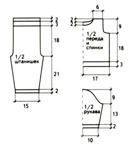 Схема вязания костюм из кофточки и штанов для девочки 1,5 лет раздел для детей детские штанишки