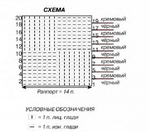 Схема вязания лаконичный черно-белый снуд раздел  для мужчин