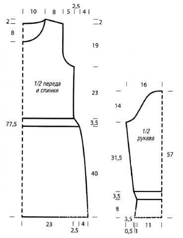 Схема вязания ажурное платье с длинным рукавом до колена раздел вязание спицами для женщин платья, сарафаны для женщин