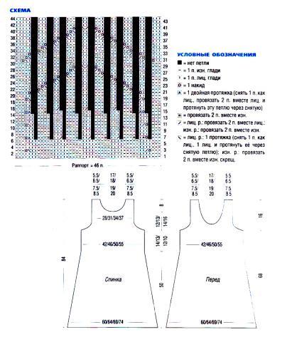 Схема вязания ажурный бежевый сарафан  раздел вязание спицами для женщин платья, сарафаны для женщин